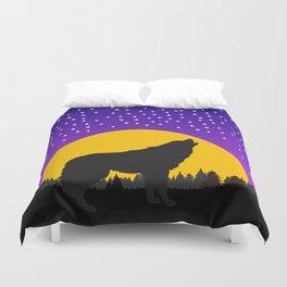 Wolf Moon Stars Duvet Cover