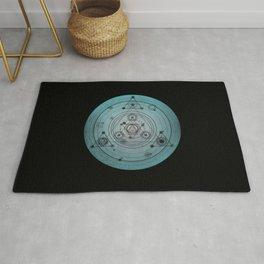 Blue distressed mandala circle with alchemy symbols Rug