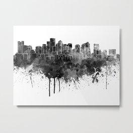 Boston skyline in black watercolor Metal Print