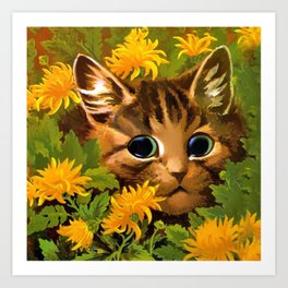 "Louis Wain's Cats ""Tabby in the Marigolds"" Art Print"