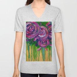 Drip Flowers - Botanical - Floral Unisex V-Neck