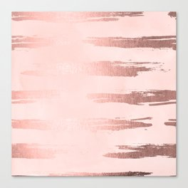 Rosegold Pink Stripes Canvas Print
