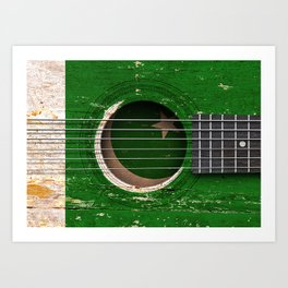 Old Vintage Acoustic Guitar with Pakistani Flag Art Print