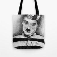 chaplin Tote Bags featuring Chaplin by D.E.Pérez