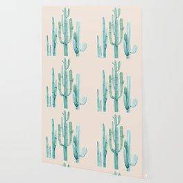 Three Amigos Turquoise + Coral Wallpaper