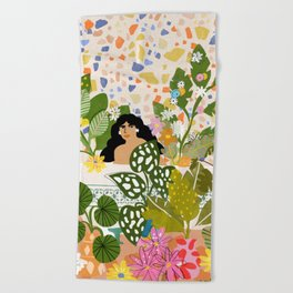 Bathing with Plants Beach Towel