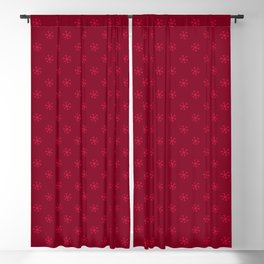 Crimson Red on Burgundy Red Snowflakes Blackout Curtain
