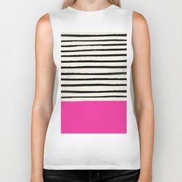 Bright Rose Pink x Stripes Biker Tank