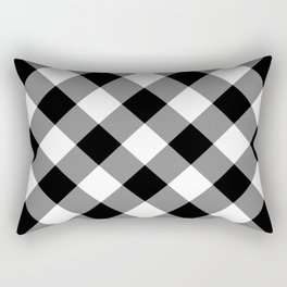 Gingham Plaid Black & White Rectangular Pillow