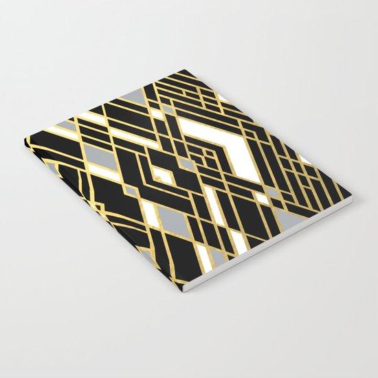 Art Deco Grey Gold Notebook