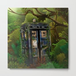 Abandoned Tardis doctor who in deep jungle iPhone 4 4s 5 5s 5c, ipod, ipad, pillow case and tshirt Metal Print