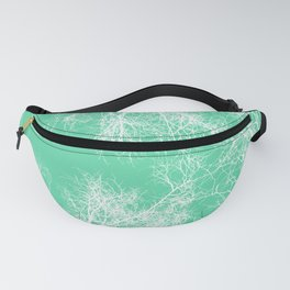 White silhouetted trees on green Fanny Pack