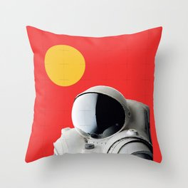 Astronaut Portrait on Red Background Throw Pillow