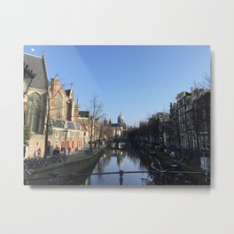 Amsterdam Canal Scene in the Red Light District Metal Print