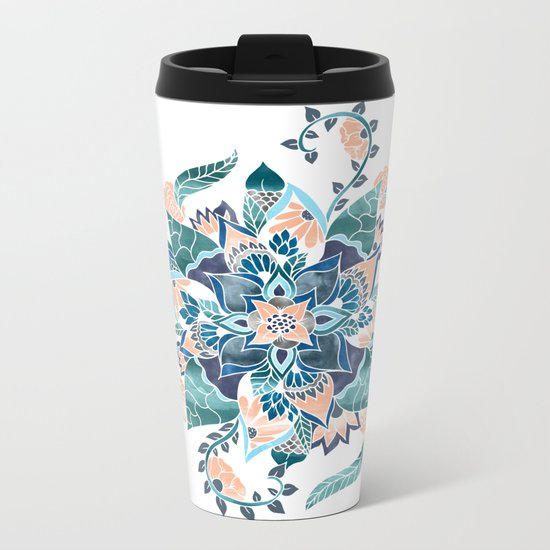 Modern coral blue watercolor floral illustration  Metal Travel Mug
