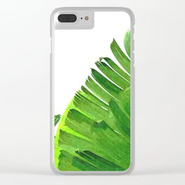 Palm banana leaves tropical watercolor illustration Clear iPhone Case