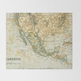 North America Vintage Encyclopedia Map Throw Blanket