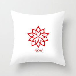 RED AND WHITE LOTUS FLOWER NOW Throw Pillow
