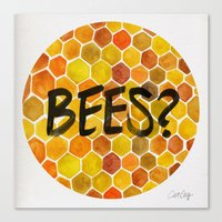 bees Canvas Prints featuring BEES? by Cat Coquillette