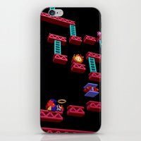 donkey kong iPhone & iPod Skins featuring Inside Donkey Kong stage 3 by Metin Seven