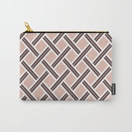 Modern Open Weave Pattern in Neutrals and Plums Carry-All Pouch