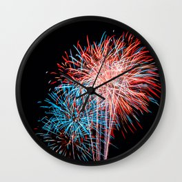 Red White and Blue Fireworks 4th of July Wall Clock