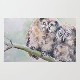 TWO CUTE OWLS Wildlife birds in the forest Watercolor painting Rug