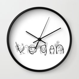 VEGAN drawing (rooster/cow/pig/chick/bunny), prints/clothing/wall tapestry/coffee mug/home decor Wall Clock