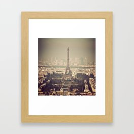 paris skyline aerial view with eiffel tower Framed Art Print