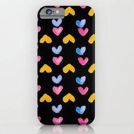 Colorful Hearts, Pink, Blue & Yellow in a black background iPhone Case