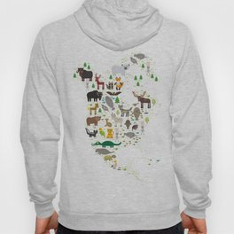 Map of North America with Animals bison bat manatee fox elk horse wolf partridge seal Polar bear Hoody