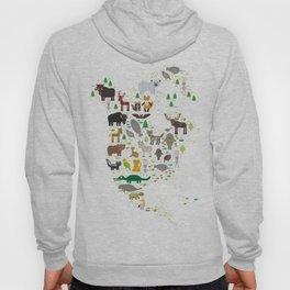 Map of North America with Animals bison bat manatee fox elk horse wolf partridge seal Polar bear Hoody