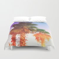 palms Duvet Covers featuring Palms by Neon Wildlife
