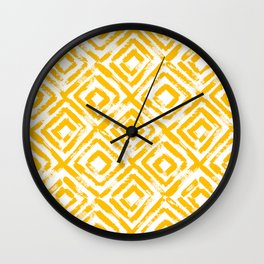 Amber Yellow Geometric Print Wall Clock
