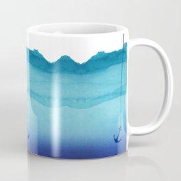 Cute Sinking Anchor in Sea Blue Watercolor Coffee Mug