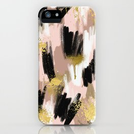Blush and Gold Abstract iPhone Case