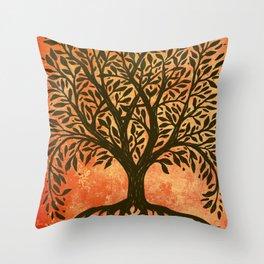 Tree Of Life Warm Tones Throw Pillow