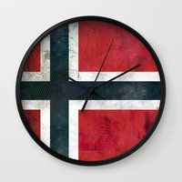 norway Wall Clocks featuring Norway by Arken25