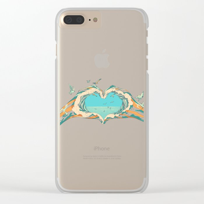 My Heart & The sea Clear iPhone Case