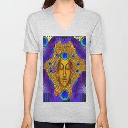 MYSTIC PEACOCK BLUE FEATHER EYES BUDDHA ART Unisex V-Neck