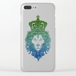 Tribal King Lion (GreenBlue) Clear iPhone Case