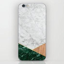 White Marble - Green Granite & Wood #138 iPhone Skin