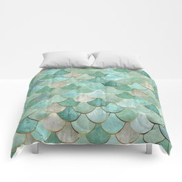 Moroccan Mermaid Fish Scale Pattern, Green and Gold Comforters