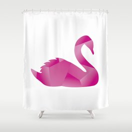 Pink Polygon Swan Shower Curtain