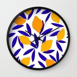 Blue and yellow Lemon Summery Pattern Wall Clock