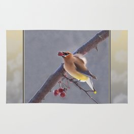 Cedar Waxwing With Berry Rug