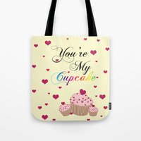 cupcake Tote Bags featuring Cupcake by Melis Kalpakçıoğlu