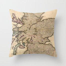Vintage Map of Scotland (1690) Throw Pillow