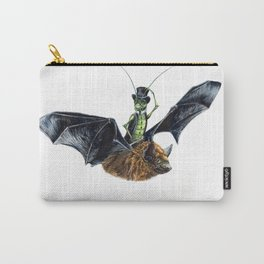 """"""" Rider in the Night """" happy cricket rides his pet bat Carry-All Pouch"""