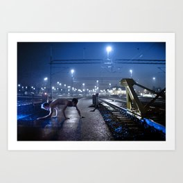 By the trains Art Print
